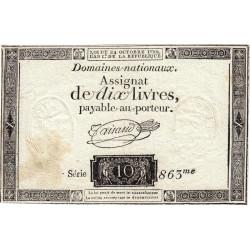 Assignat 36a-v1a- 10 livres - Filigrane inversé - 24 octobre 1792 - Série 863 - Etat : TTB