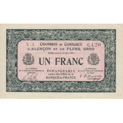 Alençon / Flers (Orne) - Pirot 6-10 - 1 franc - Série Y1 - 10/08/1915 - Etat : SPL
