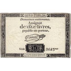 Assignat 36a-v1b- 10 livres - Filigrane inversé - 24 octobre 1792 - Série 2683 - Etat : TTB