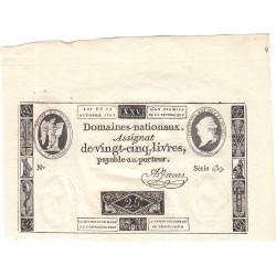 Assignat 37a - 25 livres - 24 octobre 1792 - Etat : SPL+