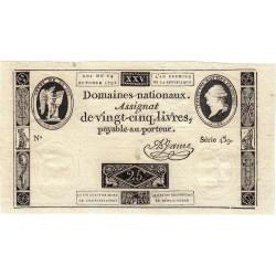 Assignat 37a - 25 livres - 24 octobre 1792 - Etat : SPL