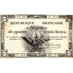 Assignat 38a - 400 livres - 21 novembre 1792 - Etat : TTB