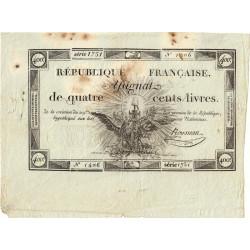 Assignat vérificateur 38v - 400 livres - 21 novembre 1792 - Etat : TTB