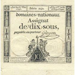 Assignat vérificateur 40v - 10 sous - 23 mai 1793 - Série 242 - Etat : SUP