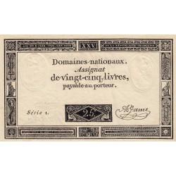 Assignat vérificateur 43v - 25 livres - 6 juin 1793 - Série 1 - Etat : SPL
