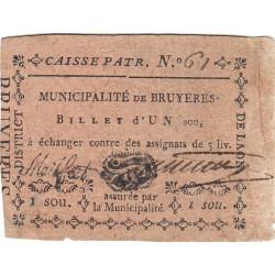 Aisne - Bruyères - Kolsky 2-19 - 1 sou - Etat : TTB
