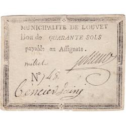 Aisne - Louvet - Kolsky 2-105 - 40 sous - Etat : TTB+