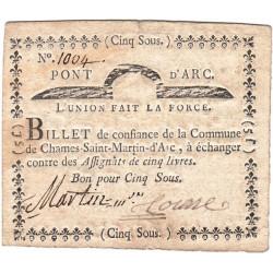 Ardèche - Chames Saint-Martin d'Arc - Kolsky 7-40 - 5 sous - Etat : TTB+
