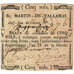 Ardèche - Saint-Martin de Vallamas - Kolsky 07-140 - 5 sols - Etat : TTB