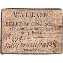 Ardèche - Vallon - Kolsky 7-176 - 5 sous - Etat : TB+
