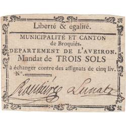 Aveyron - Broquiès - Kolsky 12-4 - 3 sols - Etat : TTB+