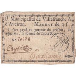 Aveyron - Villefranche d'Aveiron - Kolsky 12-165 - 3 sols - Etat : TTB