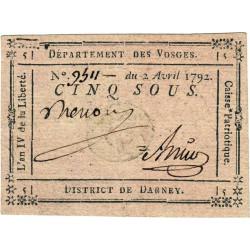 Vosges - Darney - Kolsky 88-24 - 5 sous - Etat : SUP