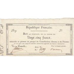 Bon au porteur de 25 francs - Arrérages de rentes et pensions - An 7 - Etat : SPL