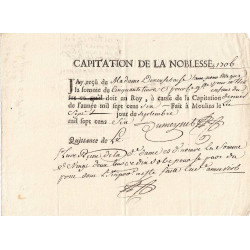 Alliers - Moulins - Louis XIV - Capitation de la noblesse de 1706 - Etat : SUP