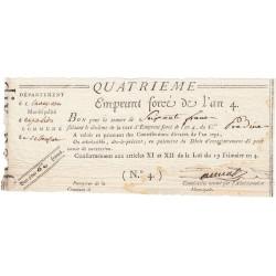 Aveyron - Espalion - Révolution - Emprunt forcé de l'an IV - 60 francs - Etat : TTB+