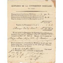 Bouches-du-Rhône - Marseille - Révolution - Contribution mobiliaire 1791 - Etat : TTB+