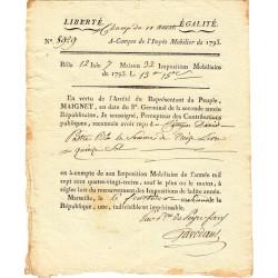 Bouches-du-Rhône - Marseille - Révolution - Contribution mobiliaire 1793 - Etat : TTB+