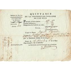 Gard - Nimes - Consulat - Contribution mobiliaire 1800 - 61 francs - Etat : TTB+