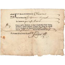 Cantal - Saint-Flour - Louis XIV - Taille, taillon et crues 1671 - 15 livres - Etat : TB+