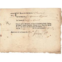 Cantal - Saint-Flour - Louis XIV - Taille, taillon et crues 1671 - 18 livres - Etat : TB+