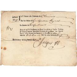 Cantal - Saint-Flour - Louis XIV - Taille, taillon et crues 1671 - 13 livres - Etat : TB+
