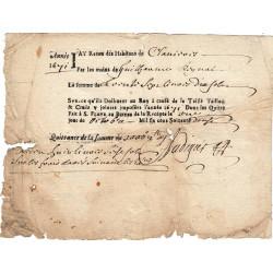 Cantal - Saint-Flour - Louis XIV - Taille, taillon et crues 1672 - 36 livres - Etat : TB+