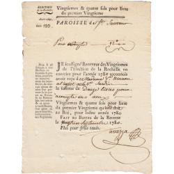 Charente-Maritime - La Rochelle - Louis XVI - Vingtièmes et quatre sols de 1780 - Etat : SUP