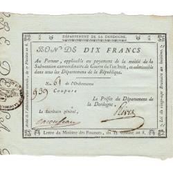 Dordogne - Révolution - 1799 - 10 francs - Extraordinaire de guerre - Etat : SPL