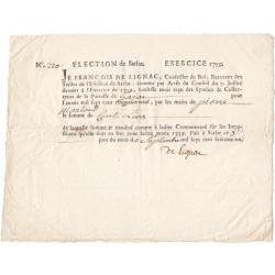 Dordogne - Gajac - Election de Sarlat - Louis XV - Tailles 1759 - 100 livres - Etat : SUP