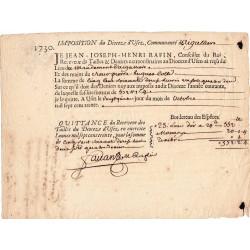 Gard - Aigaliers - Louis XV - 1730 - Impots du Diocèse - 572 livres - Etat : SUP