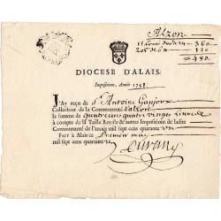 Gard - Alzon - Louis XV - 1741 - Impots du Diocèse - 480 livres - Etat : SUP