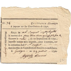Gard - Garrigue - Révolution - 1791 - Quittance de contribution 1790 - 102 livres - Etat : SPL