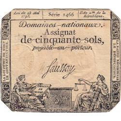 Gard - Nimes - Ticket d'Escompte - Assignat 50 sols - 1793 - Etat : TTB