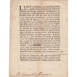 Gard - Roquemaure - Louis XIV - 1705 - Sup. des Offices de Courtiers de Change, Banque & Marchandises - Etat : TTB