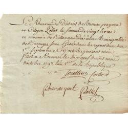 Ille-et-Villaine - Bazouges - Révolution - 1792 - Somme accordée à la municipalité - 20 livres - Etat : TTB+