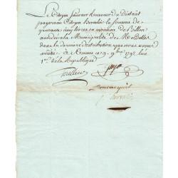 Ille-et-Villaine - Mordelles - Révolution - 1792 - Somme accordée à la municipalité - 45 livres - Etat : TTB+