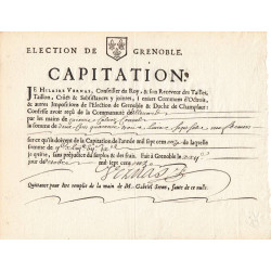 Isère - Allevard - Louis XIV - Capitation de 1711 - 249 livres - Etat : SUP à SPL