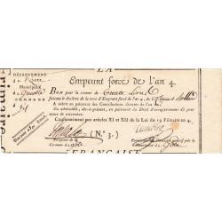 Isère - Grenoble - Révolution - Emprunt forcé de l'an IV - 30 francs - Etat : SUP