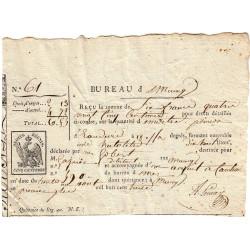 Loiret - Meung - 1er Empire - 1813 - Quittance des droits  - Etat : TTB+