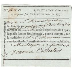 Lot-et-Garonne - Montesquieu - Révolution - 1792 - Quittance contributions - 82 livres 19 sols 2 deniers - Etat : SUP