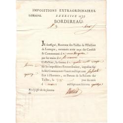 Lot-et-Garonne - Montesquieu - Louis XVI - 1775 - Tailles : impositions extraordinaires - 420 livres - Etat : SUP