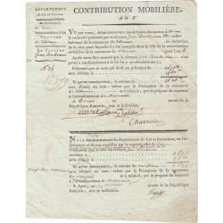Lot-et-Garonne - Villeneuve de Duras - Consulat - 1800 - Contribution mobilière - 3 fr. 75 centimes - Etat : TTB+