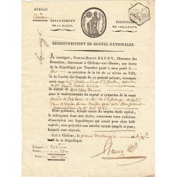 Marne - Chalons-en-Champagne - Consulat - 1801 - Remboursement rentes nationales - Etat : SUP