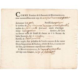 Mayenne - Baronnie de Mortiercrolle - Louis XVI - 1776 - Devoir noble & féodal - Etat : SUP