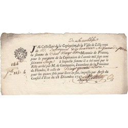 Nord - Lille - Louis XV - 1747 - Capitation de la noblesse - 120 livres - Etat : SUP