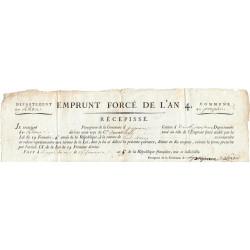 Rhone - Propières - Révolution - 1796 - Récépissé de l'emprunt forcé de l'an IV - Etat : SUP