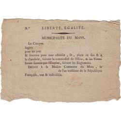 Sarthe - Mans (Le) - Révolution - 1795 - Bon de logement - Etat : TTB-