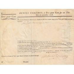 Seine - Paris - Louis XVI - Emprunt royal de 1778 - Rente viagère à 10% - Etat : SUP