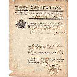 Seine - Paris - Louis XVI - Capitation 1785 - 2921 livres - Etat : TTB
